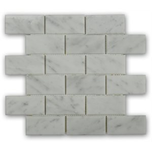 White Carrara 2x4 Beveled Brick