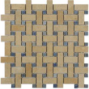 Close Out - Basket Weave Jerusalem Gold with Blue Macauba Dot
