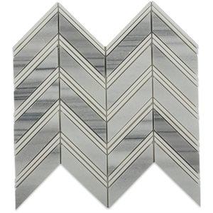 Chevron Weave - Cipollino with Thassos Strips