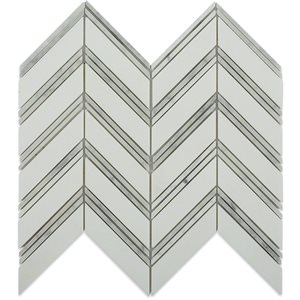 Chevron Weave - Thassos with Bianco Carrara Strips