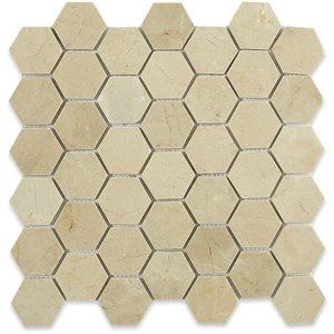 "Crema Marfil 2"" Hexagon"