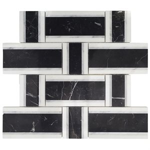 Interlace Nero Marquina, White Carrara & Thassos