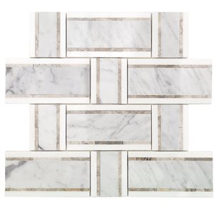 Interlace White Carrara, Temple Gray & Thassos