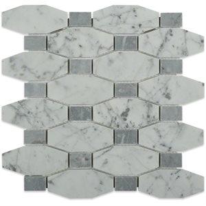 Long Octagon Pattern White Carrara & Light Bardiglio Dot