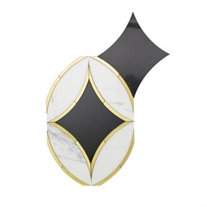 Kaleidoscope Oblique-  Calacatta, Nero Marquina & Brass