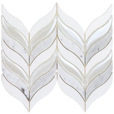Botanic Winter -  White Carrara, White Thassos, & Iridescent White Glass