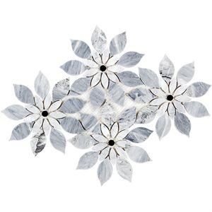 MJ Rain Flower - Bardiglio Nouvelato, White Carrara with Black Jade Dot