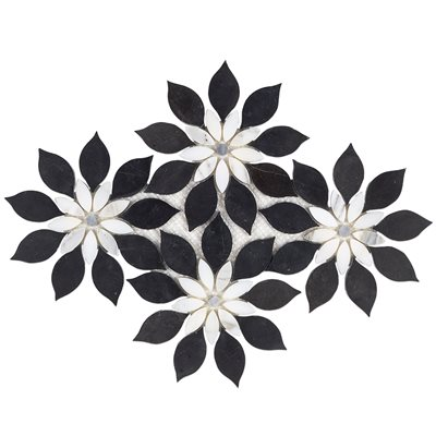MJ Rain Flower - Black Jade, Calacatta with Calacatta Dot
