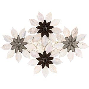 MJ Rain Flower - Wooden Beige, Taupe & Beige Glass