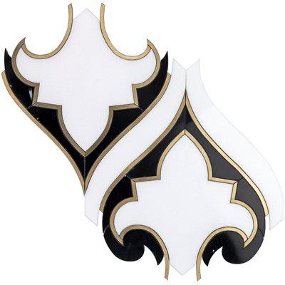 Close Out - Shangri-La - White Thassos,  Black Marble & Brass