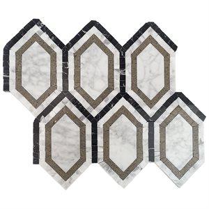 New Era White Carrara Long Hexagon with Lagos, White Carrara, Black