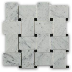 Wideweave White Carrara with Black Dot